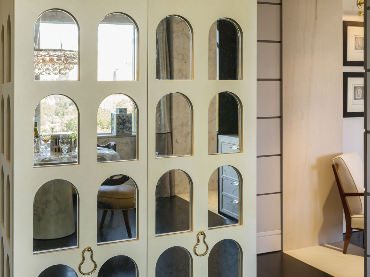 A cabinet by Salvagni is inspired by the Roman Colosseum.