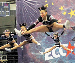All-star competitions draw crowds to root on the competing cheerleaders—here, Cortlandt-based City Lites compete at the Albany Spirit Unlimited Regionals last spring, where they took home first place in the Senior Level 3 large division.