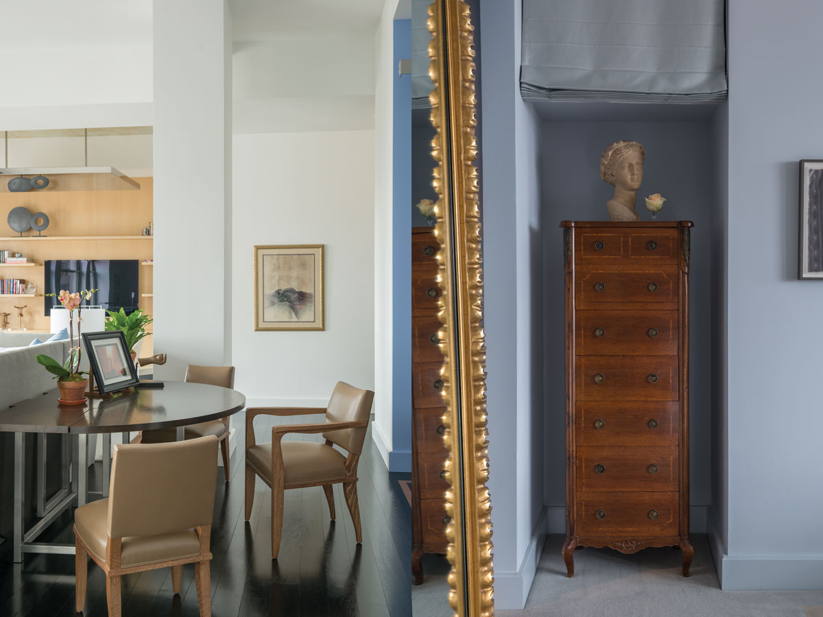 Left: An extendable rollaway dining table is stationed in front of the (just visible) piano corner. Right: A niche at the bedroom's entrance is fitted with a semainier and bust.