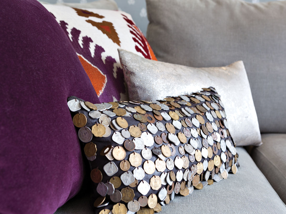 Stuart found a pillow covered with Indian coins online.