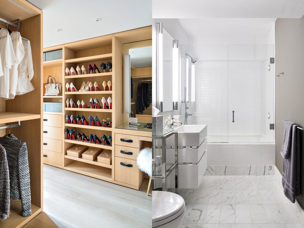 Left: To accommodate the Arias' sizable clothing collection, Burns combined two closets and cut off a bit from the laundry room to create this built-in space. Right: The master bath has custom cabinetry while the upstairs guest bath is fitted with Carrara marble.