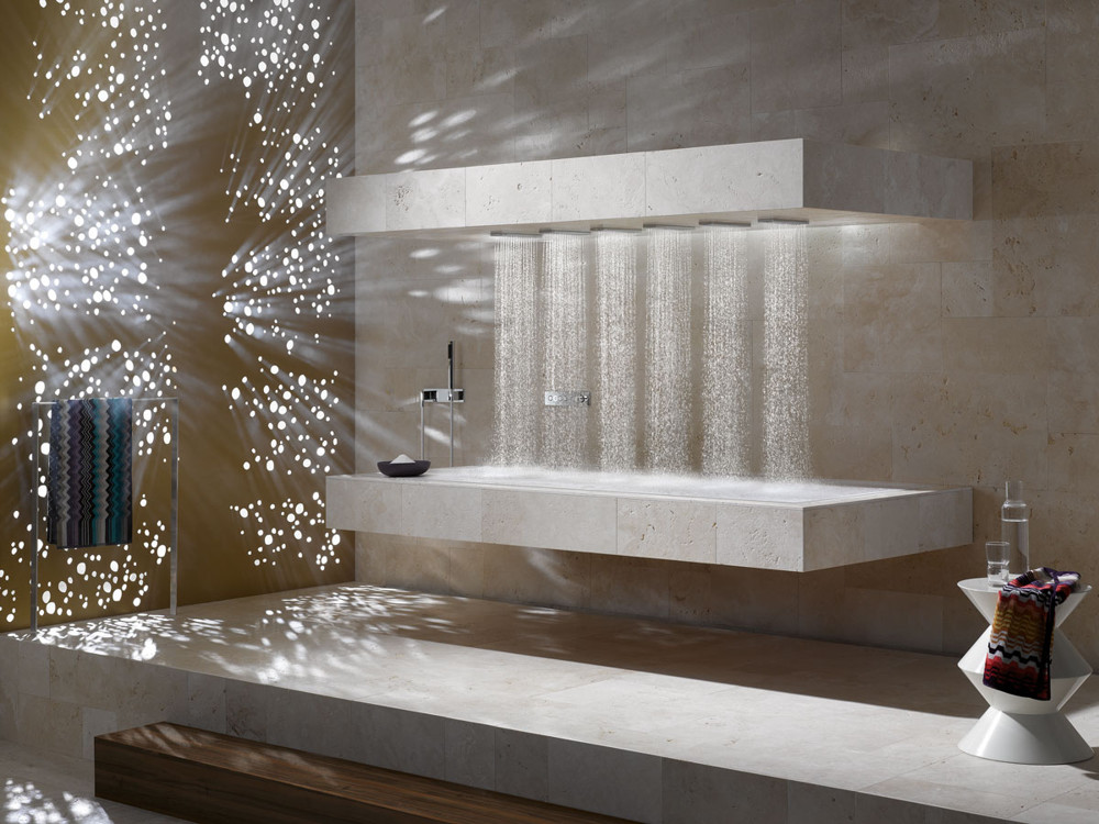 Water represents purification, and in almost all cultures there are rituals and creation mythologies associated with this most precious resource. The soothing qualities of a spa experience often center on water, and here, the horizontal shower from Dornbracht is a perfect escape for the home. The water flow can be choreographed into three effects: Balancing, energizing, or de-stressing.