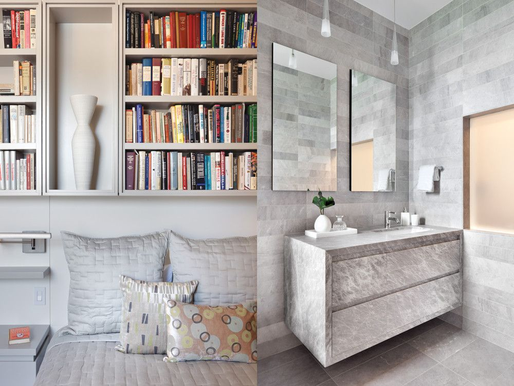 Left: The inviting guest room provides more space for the owners' extensive book collection. Right: The floor-to-ceiling marble master bath has a translucent window to provide light to the study behind it.