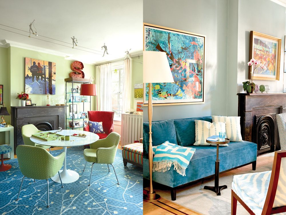 Left: On the third-floor master bedroom level, a study near the front of the house becomes a favorite gathering spot. A Knoll Saarinen table and chairs sit atop a rug from Fedora Design that the wife was drawn to because it reminded her of the pattern of brain synapses. A painting of a couple on a ski lift above the mantel recalls the couple's Aspen home. Right: In the living room, used mostly for entertaining, an old coal fireplace contrasts handsomely with a sofa covered in plush, saturated blue linen velvet, a side chair upholstered in a blue-and-white zebra pattern from Jim Thompson, and a rug in a pale blue palette depicting an abstract sea serpent. Beautifully eroded glass floats sit elegantly on the mantel.