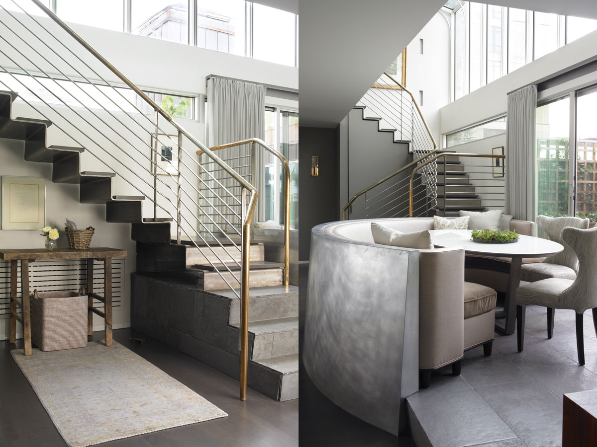 Left: Stone steps progress into a metal staircase that leads up to the daughter's bedroom. Underneath the stairs a more rustic vignette featuring an antique console nicely balances out the ultra-sleek materials.