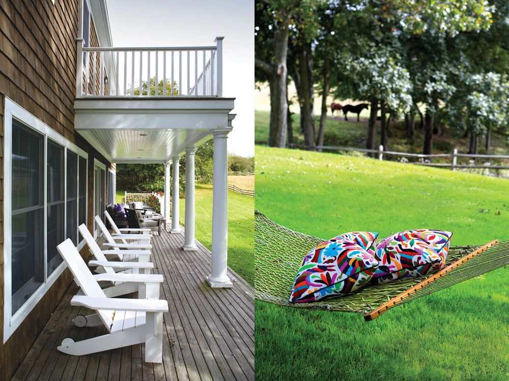 Left: A row of back porch Adirondack chairs from Restoration Hardware provides the perfect seating for lazily gazing at grazing horses. Right: A brightly colored and gaily patterned pillow, made from fabric found in La Ciudadela flea market in Mexico City, brings a hint of the inside to the outside.