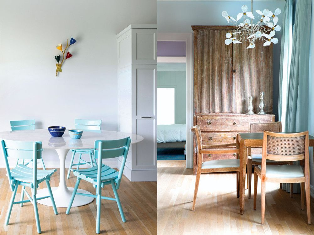 Left: In the breakfast nook, the Saarinen-designed dining table meets its stylistic polar opposite in four painted flea market chairs; a 1940s wall sconce by Stilnovo picks up on the colors of the Mexican fabrics. Right: In the game nook, a Swedish breakfront, an art deco game table, and 1940s French chairs, all of cerused oak, play second fiddle to Ingo Maurer's Birdie Chandelier from Lumens.