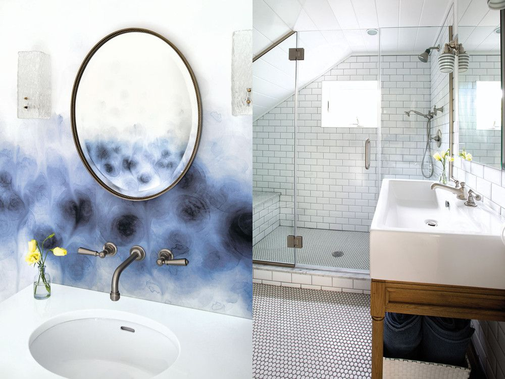 Left: An unusual blue-and-white wallpaper from Trove continues the color theme in the powder room; the delicate oval mirror is from The Warehouse and the sconces are ebay finds. Right: The commodious bathroom is a lively mix of proportions from the large Carrara marble shower seat to the wide planks that cover the ceiling to the narrow subway tiles that surface the walls (the same as in the kitchen) to the small penny floor tiles; blue makes repeat and subtle appearances as the color used for grouting.
