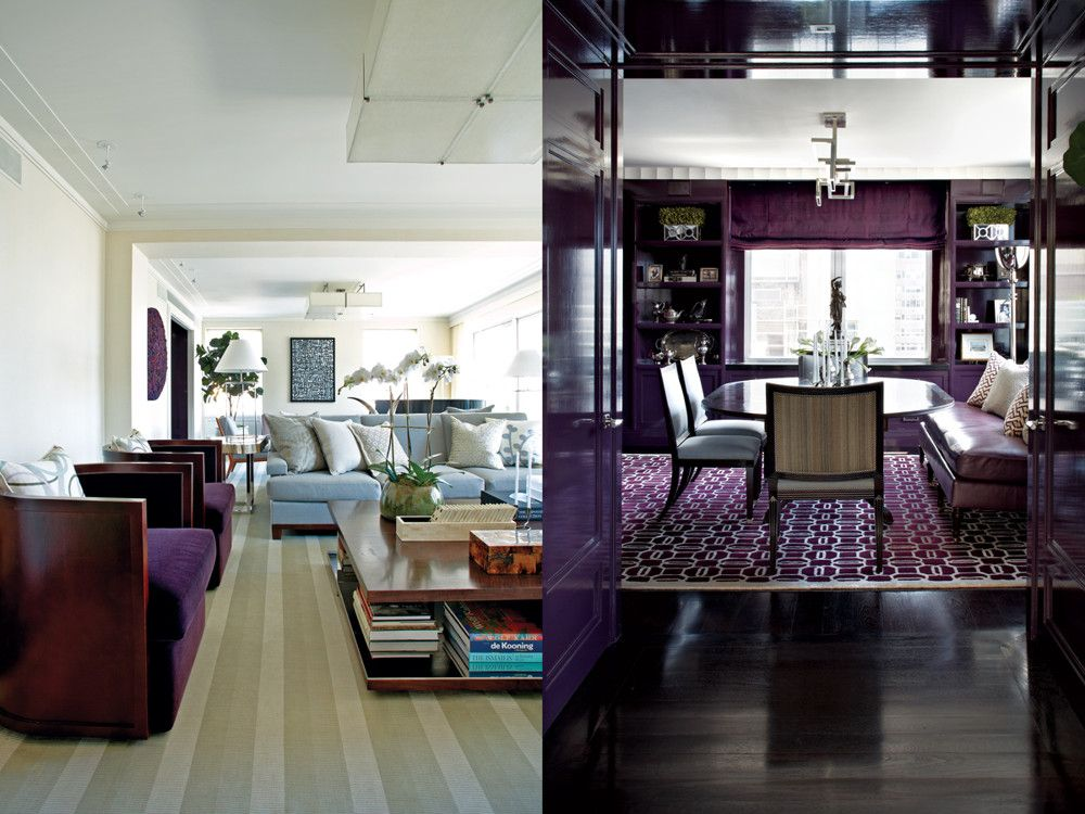 "Left: The ample proportions of the living room accommodate dual seating areas, both featuring a flat-weave Tai Ping carpet, silk wallpaper from de Gournay, and custom sofas covered in Holland & Sherry's ""Atacama"" silver wool. Also in the foreground, Deco-like custom chairs upholstered in aubergine mohair. Right: An ""Untitled T"" chandelier casts light upward, softly illuminating a moody, library-like dining room enveloped in eggplant lacquer millwork. Holly Hunt's Montserrat chairs and a custom banquette covered in Moore & Giles leather surround the dining table. Underneath, a Marc Phillips tufted wool and silk art rug."