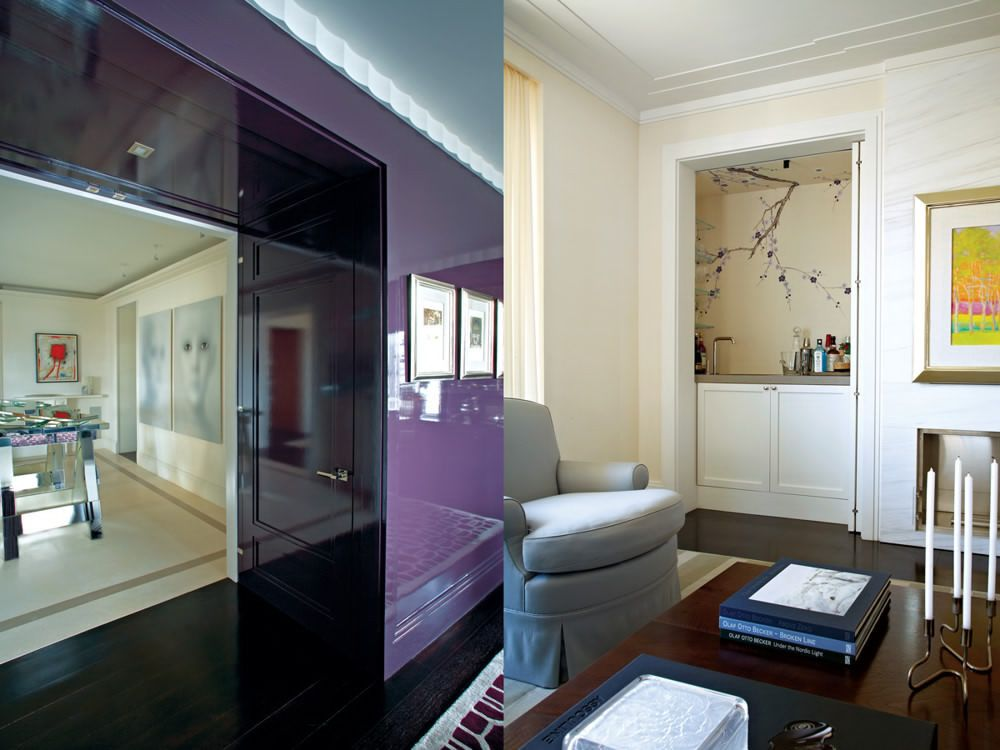 Left: Architect Stephen Wang created thick walls (like this one between entry hall and dining room) to hide mechanicals. Right: Hand-painted cherry blossoms on the same de Gournay silk of the living room walls add an element of surprise to the wet bar, concealed behind doors next to a work by Wolf Kahn.