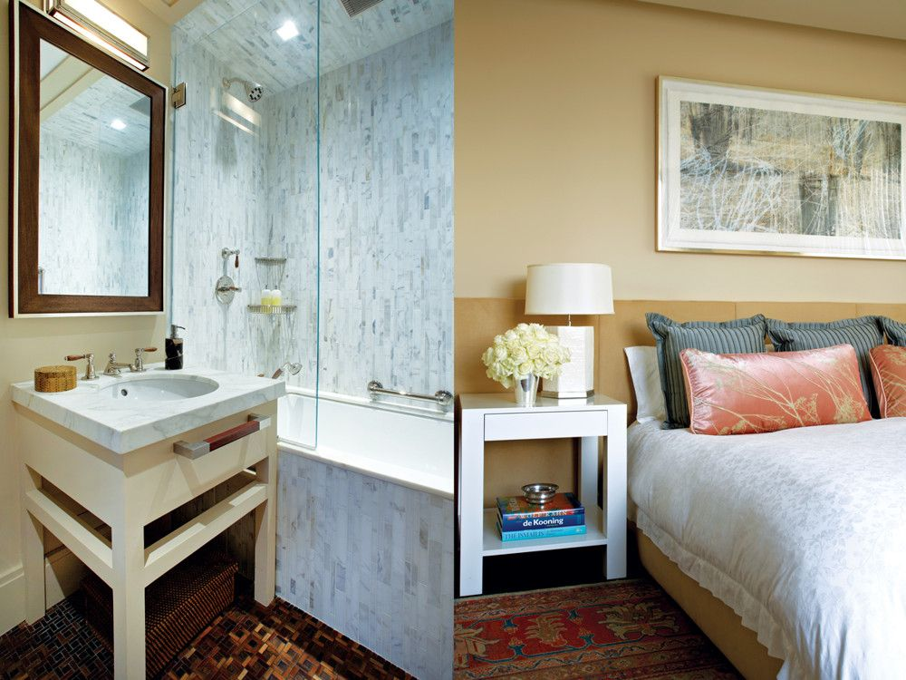 Right: Patterned fabrics would fight with the master bedroom rug, so designers Foley and Cox commissioned a headboard from Richomme swathed in Arabel Fabrics' camel ultrasuede. Bedding is Ralph Lauren Home. Left: The marble master bath was outfitted with a polished nickel Markham sconce from Urban Electric and walnut mirror by Skyframe; other polished nickel fixtures are from Simon's Hardware & Bath.