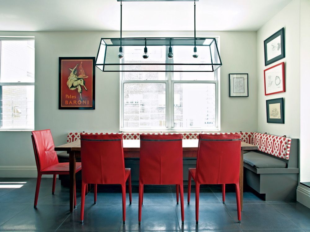 The kitchen's red Fitzgerald chairs from Poltrona Frau and the Kravet fabric of the banquette back were pulled from Leonetto Cappiello's vintage Pates Baroni poster.