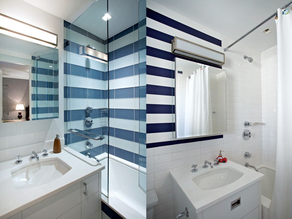 Left: The latter bedroom's blue and white-tiled bath. Right: Another bath featuring Circa Lighting's Mercer long-box sconce.