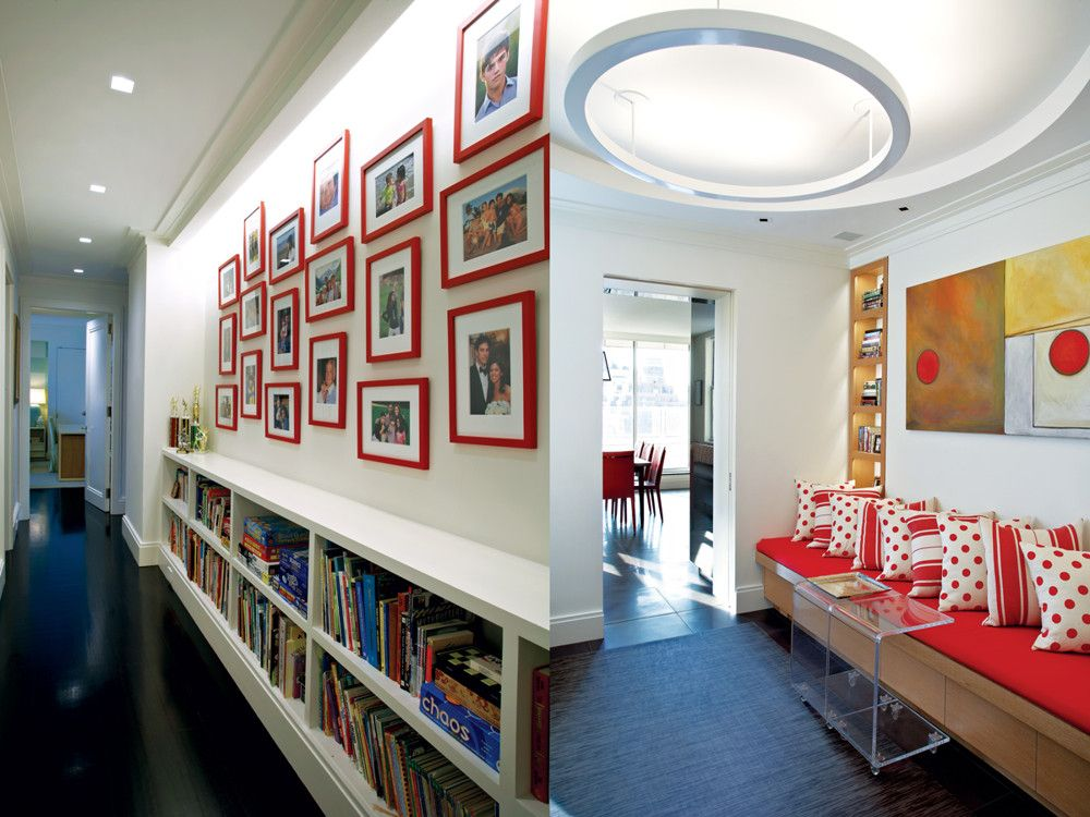 Right: The widened corridor between apartments has become a transitional hub illuminated by Modulightor's Coronet ceiling fixture. The red banquette's polka dots echo Livingstone Black's Buffalo Soldier painting. Left: Red continues in frames of family photographs in a more conventional corridor accessing the bedrooms.