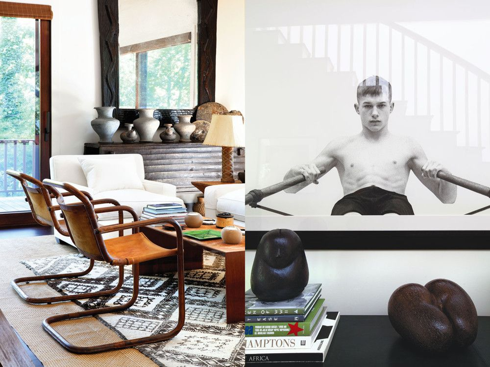 Left: Another international mix in the living room gathers a Moroccan rug, copper-and-leather Adnet chairs and antique pottery from the Philippines. Right: Atop the hallway console is one of many personally relevant vignettes throughout the household that reveal a life of world travel.