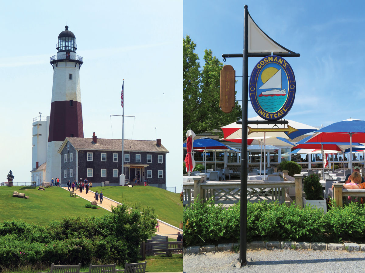 Left: New York's first lighthouse, The Montauk Point Lighthouse, was commissioned by President George Washington and constructed in 1796. Next to it is a museum operated by The Montauk Historical Society. Right: A peek at the charming shops of Gosman's Dock.