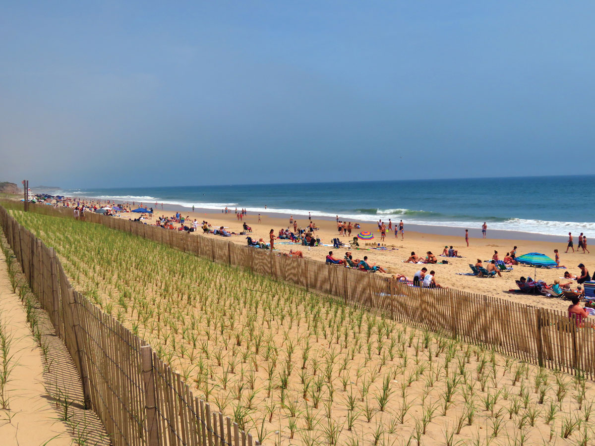 Vacationers taking in the sun on one of Montauk's many beaches.