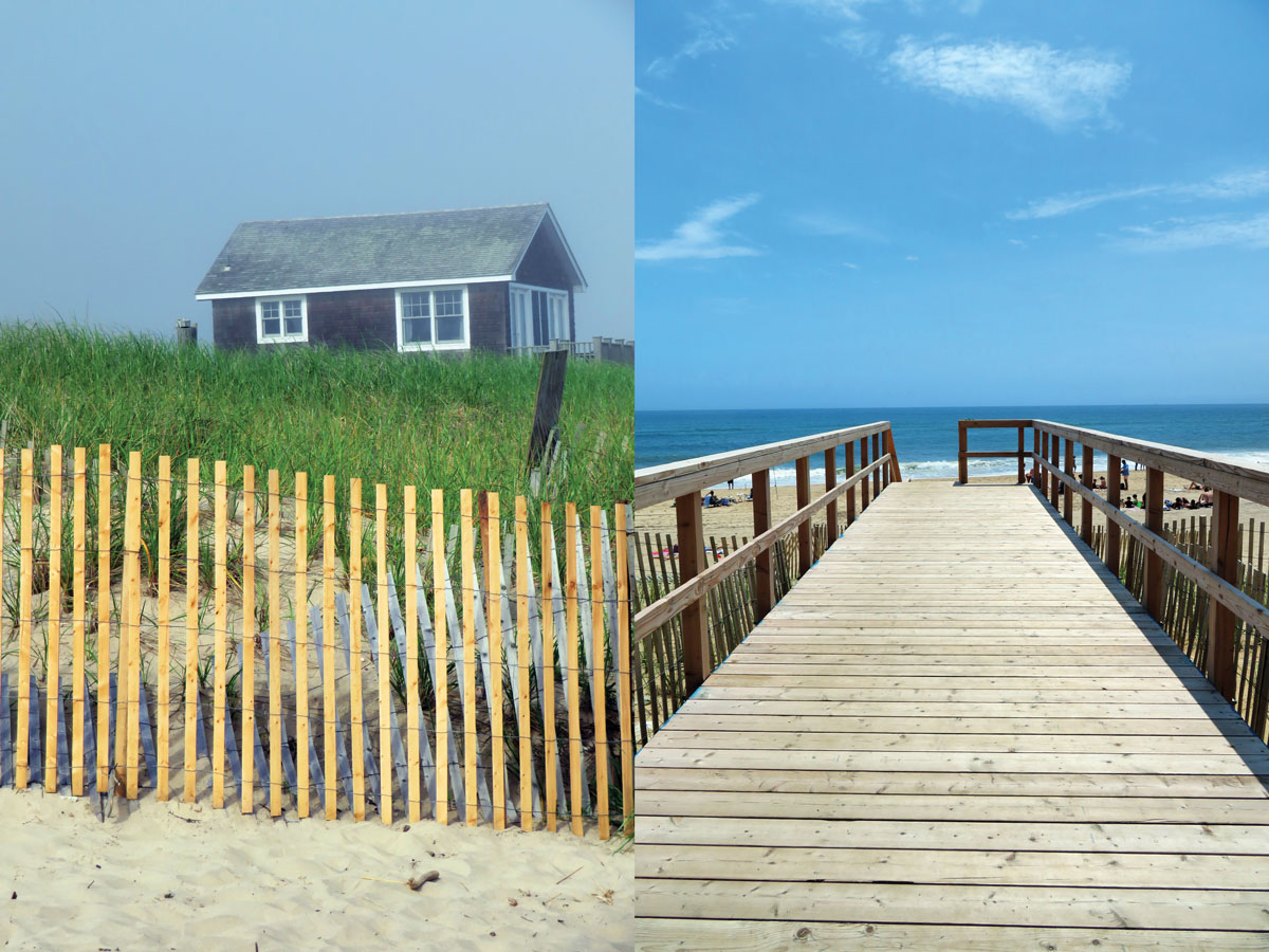 Left: A cottage off of the beach. Right: A boardwalk leads out to one of Montauk's many beaches.