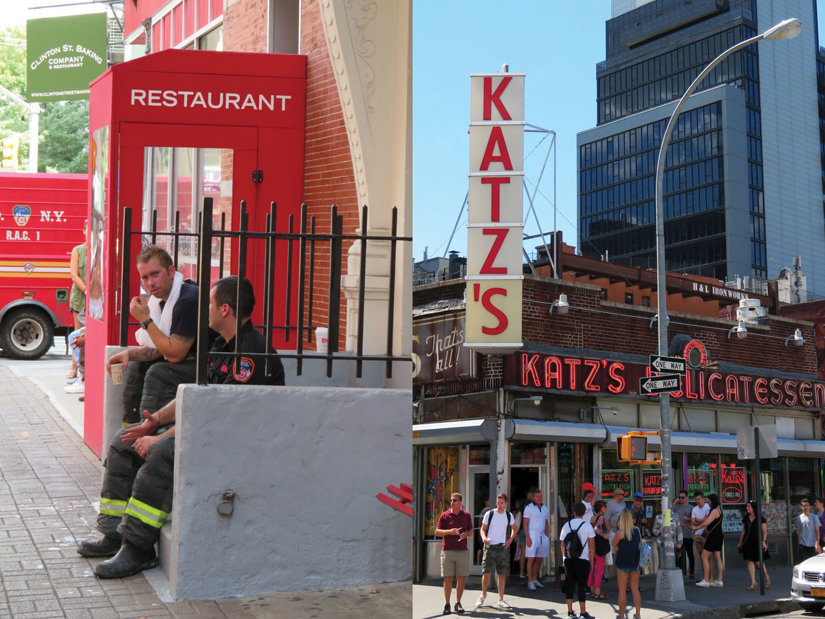 Left: Katz's Deli is known for its legendary corned beef and pastrami sandwiches. Right: The Clinton St. Baking Co. opened in 2001 and has been a neighborhood brunch staple ever since.