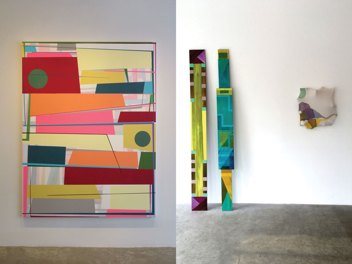 Left: Staring at the Sky by Gary Peterson at McKenzie Fine Art Inc. Right: Monoliths II by Emily Kiacz at Cuevas Tilleard, a contemporary art gallery located on Henry Street.