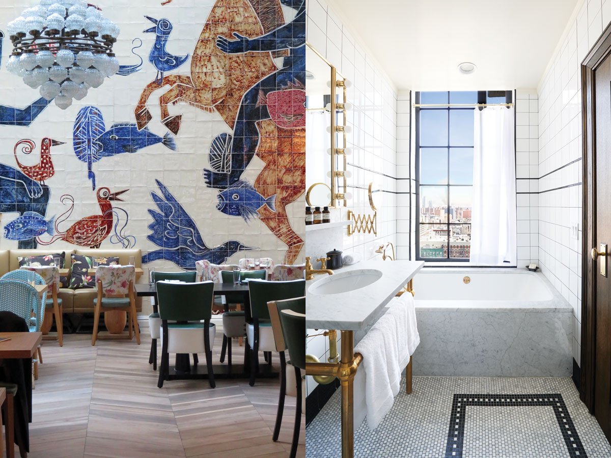 Left: Café Medi is a Mediterranean restaurant on Rivington Street. Right: A bathroom in the Ludlow Hotel has superb views. Photograph of the Ludlow Hotel by Annie Schlechter.