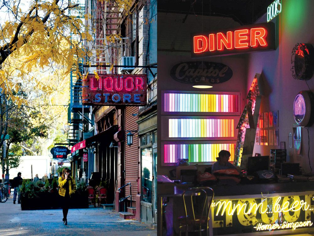 Left: A woman strolls down West Broadway, home to Tribeca Tavern. Right: Let There Be Neon is known for creating fun and custom neon signage.