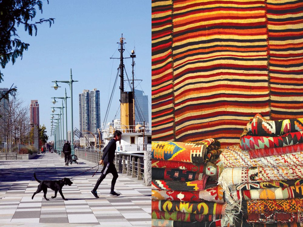 Left: A man takes his dog for a run at the Hudson River Park. Right: Double Knot offers tribal rugs and textiles.