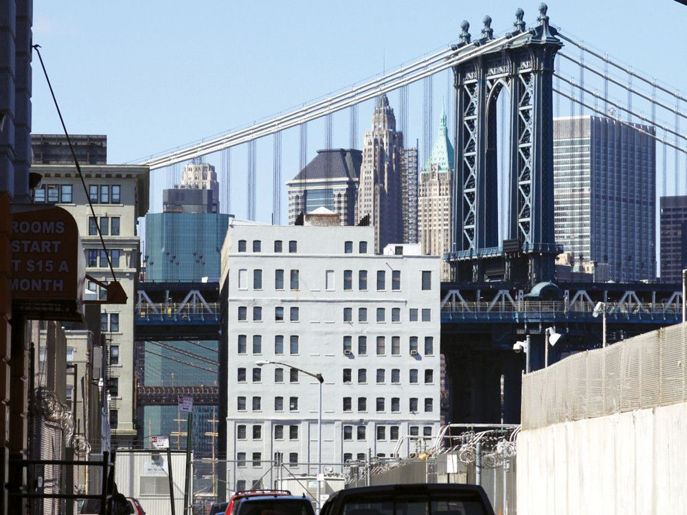 A view of the Manhattan Bridge and Gotham itself from Vinegar Hill.