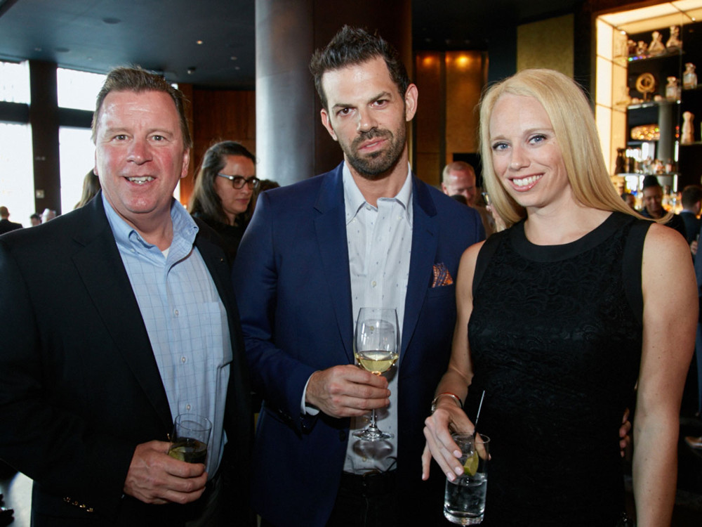 Left to Right, Vincent Carle (Sales Manager at Benjamin Moore), Martin Kesselman (NYC Designer and Colorist), Kelly Sinatra (Head of Public Relations for Benjamin Moore) at 5/1/17 New York Spaces Spring Into Design presented by Benjamin Moore event at Ascent Lounge in Time Warner Center, awarding the 2017 Leaders in Home Products Design Awards.