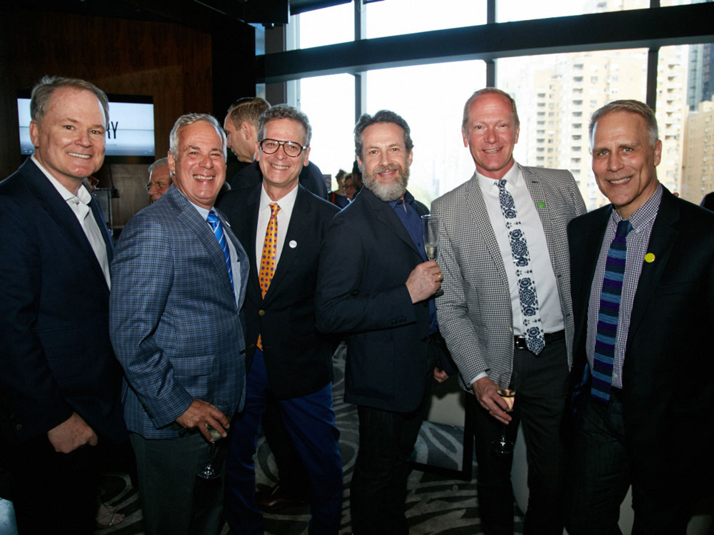 Left to Right, Designer Matthew Patrick Smyth, Dennis Miller (Winner from the category, Furniture), Barry Goralnick (Architect and Designer, Finalist), Lucio Amadio (Design Consultant at Studium), and guests at 5/1/17 New York Spaces Spring Into Design presented by Benjamin Moore event at Ascent Lounge in Time Warner Center, awarding the 2017 Leaders in Home Products Design Awards.
