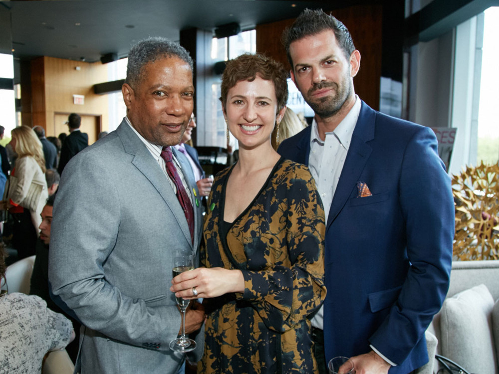 Left to Right,  Rio Hamilton (design blooger), Kim Mitchell (KAM Design / HGTV Property Brothers), Martin Kesselman (NYC Designer and Colorist) at 5/1/17 New York Spaces Spring Into Design presented by Benjamin Moore event at Ascent Lounge in Time Warner Center, awarding the 2017 Leaders in Home Products Design Awards.
