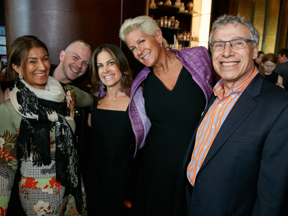 Left to Right, Anjali Pollack (Interior Designer), Dane Pressner (Interior Designer at D'Aquino Monaco, Lisa Ben-Isvy (Publisher of New York Spaces), Louise Philips Forbes (Halstead Property-The Louise Phillips Forbes Team),  and guest at 5/1/17 New York Spaces Spring Into Design presented by Benjamin Moore event at Ascent Lounge in Time Warner Center, awarding the 2017 Leaders in Home Products Design Awards.