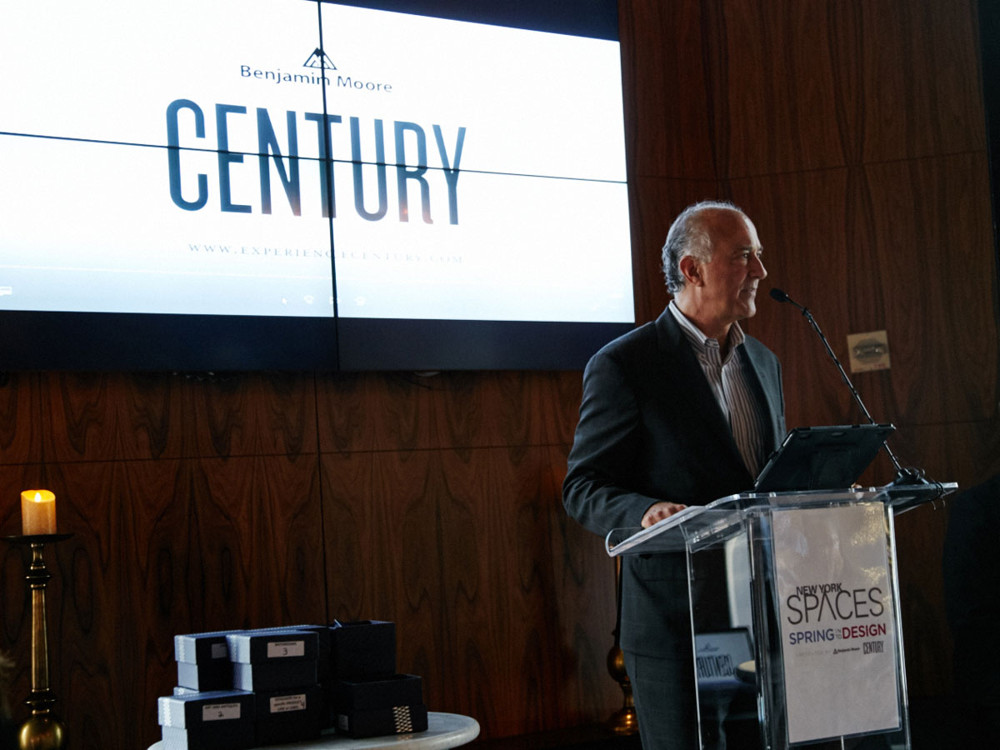 Ralph Pucci receiving his award as the Winner of 2017 Leaders in Home Products Design Awards  in the Art & Antiques category, at 5/1/17 New York Spaces Spring Into Design presented by Benjamin Moore event at Ascent Lounge in Time Warner Center.
