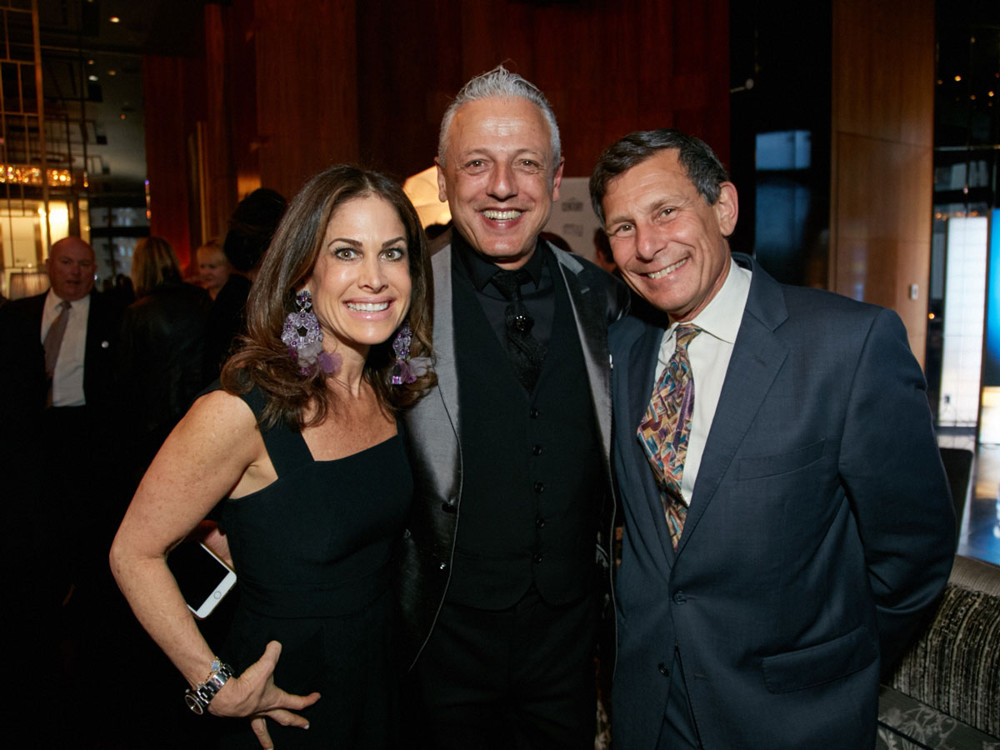 Left to Right, Lisa Ben-Isvy (Publisher of New York Spaces), Daniele Busca  (Creative Director and Store Manager at Scavolini, Winner in Kitchen category) and David Miller (President and CEO of Davler Media Group, parent company of New York Spaces) at 5/1/17 New York Spaces Spring Into Design presented by Benjamin Moore event at Ascent Lounge in Time Warner Center, awarding the 2017 Leaders in Home Products Design Awards.