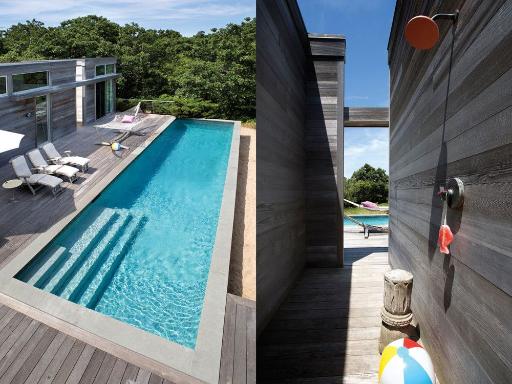 Left: Hudson's studio, which also opens to the pool, is a separate structure next to the house. Right: An outdoor shower in the passageway between the house and studio.