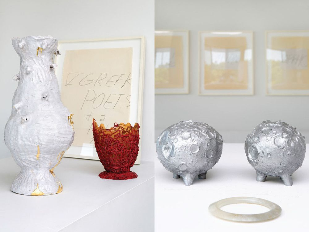 Left: Hudson's favorite possessions include the Twomblys in the den. Right: On the fireplace mantel are Andrew Lord's large ceramic piece and Gaetano Pesce's smaller vessel, as well as two sculptures of the moon by Bryan Hunt.