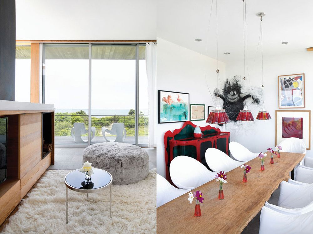 Left: In the den, the coffee table is by Hudson's daughter, Genevieve Hudson-Price; its glass top encases a real spider web; the white ribbon chairs on the balcony are from R.E. Steele Antiques. Right: In the dining area, Joyce Pensato's Felix the Cat adds a witty, antic spirit to pieces by, from left to right, Hudson, Hudson's children, Julian Schnabel, and Anish Kapoor. Ingo Maurer's Campari lights act like grace notes for the Gaetano Pesce console; chairs by Philippe Starck pull up to the plank-topped table.