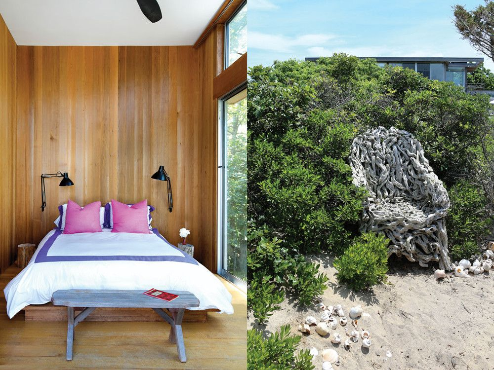 Right: With a Chinese chair found in an antique shop, Hudson puts art into nature. Left: A guest bedroom.