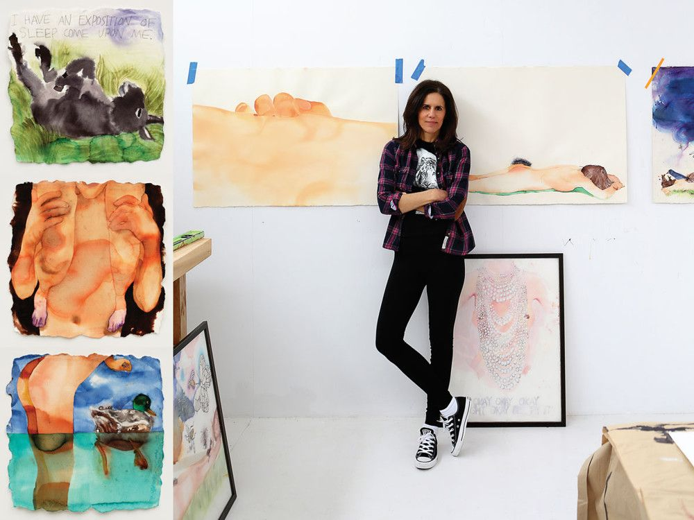 Right: Hudson in her studio, surrounded by her work. Left, top to bottom: Hudson's 2014 watercolors include A Midsummer Night's Dream Series: an explosion of sheep came upon me; Piggyback; and Shake a Tail Feather, Ike Turner (Photos by Ernst Fischer; through Tripoli Gallery of Contemporary Art)