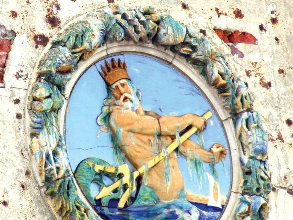 The nautical façade of the former Childs Restaurant, now landmarked, includes a riveting depiction of the mythological Poseidon with his trident.