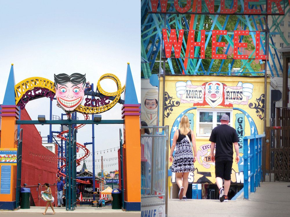 Left: The Scream Zone is a 2011 addition to Luna Park. Right: The Wonder Wheel. The fun never stops!