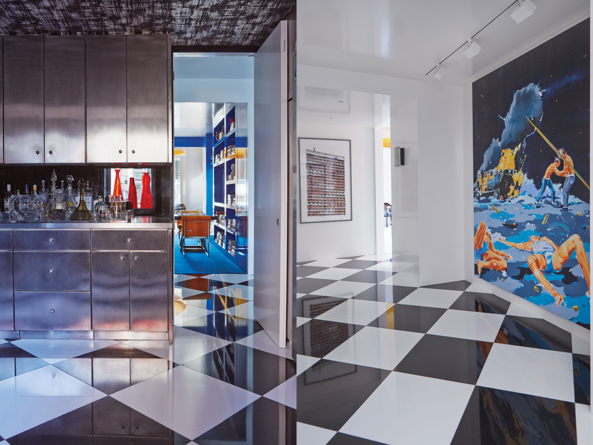 Left: The bar area glistens and leads into the cobalt library. Right: The black-and-white stone flooring in the entryway is a dramatic graphic element.