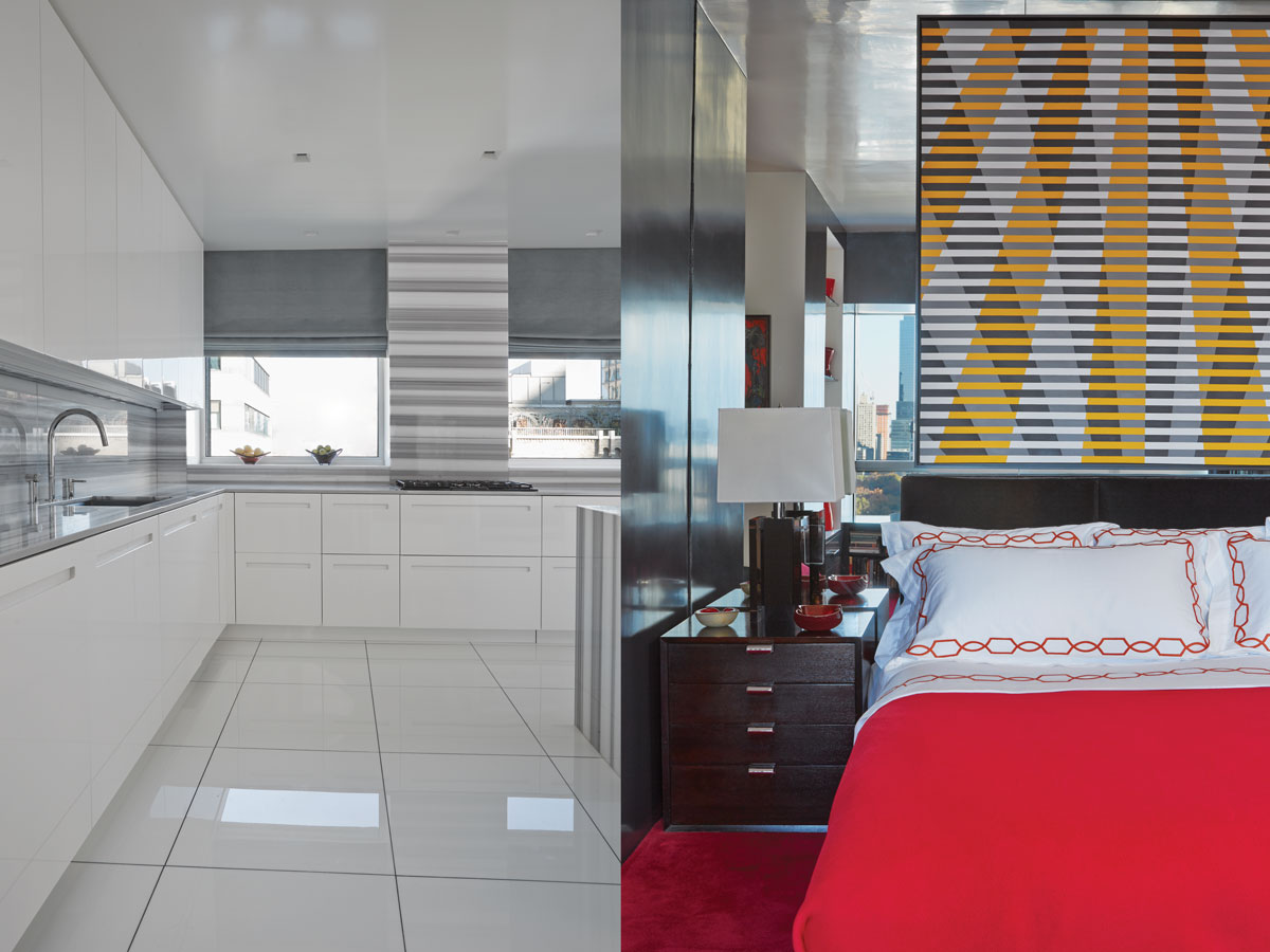 Left: The kitchen is subdued but elegant, with matching marble countertops and backsplashes. Right:The master bedroom is tailored and elegant with bright red linens from E. Braun & Co., and a vintage night table by George Nelson.
