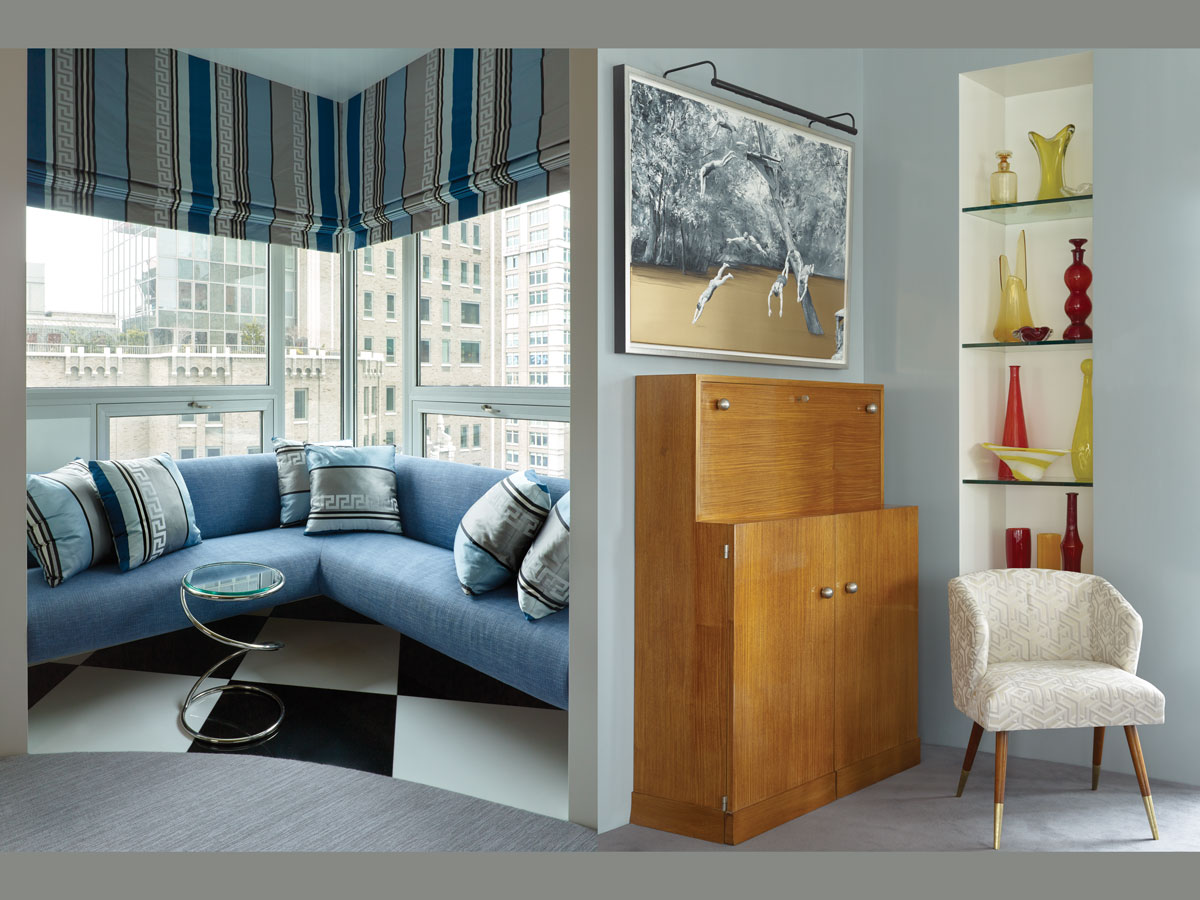 Left: A corner niche in the dining room beckons with a pale blue banquette by the designer Right: A vintage 40s French bar fits perfectly in a corner of the living room. Photographs by Peter Murdock.