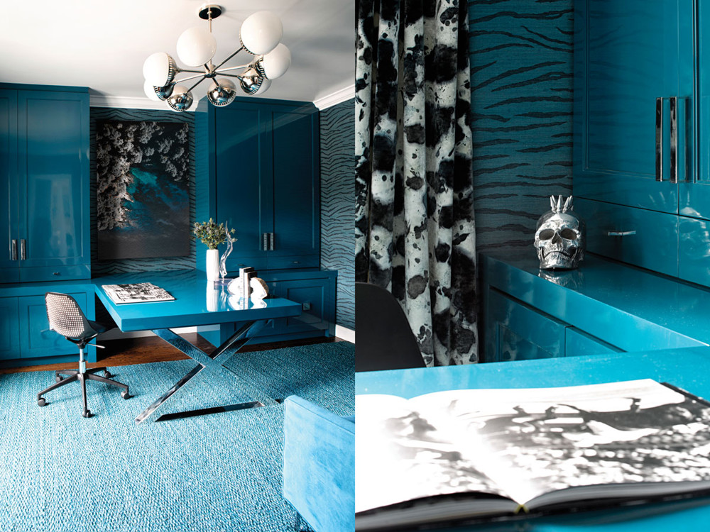 Left: In the office, RADform's nailhead-studded desk chair adds punk glamour, while a Jonathan Adler chandelier delivers vintage chic. Right: The glossy custom teal millwork and desk complete the tactile materials trifecta.