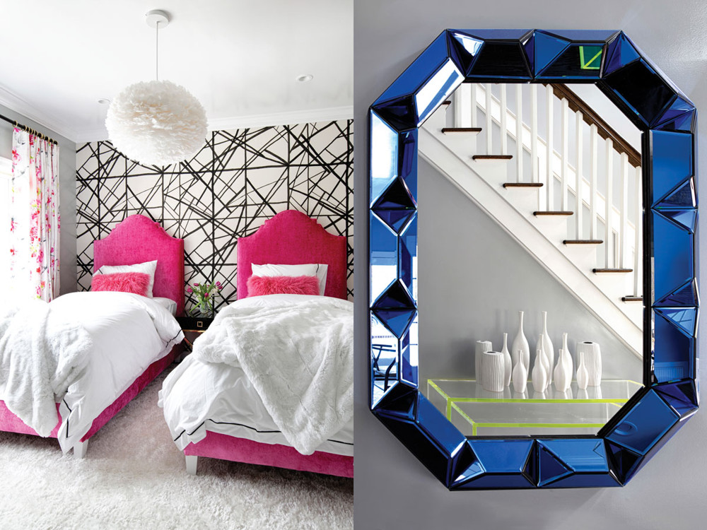 Left: In another guest room, curvy hot pink custom headboards pop against an angularly graphic Kelly Wearstler wallpaper. Right: The Romano wall mirror from Bungalow 5 creates a jewel-like effect in the entry hall opposite a collection of white ceramics from Global Views.