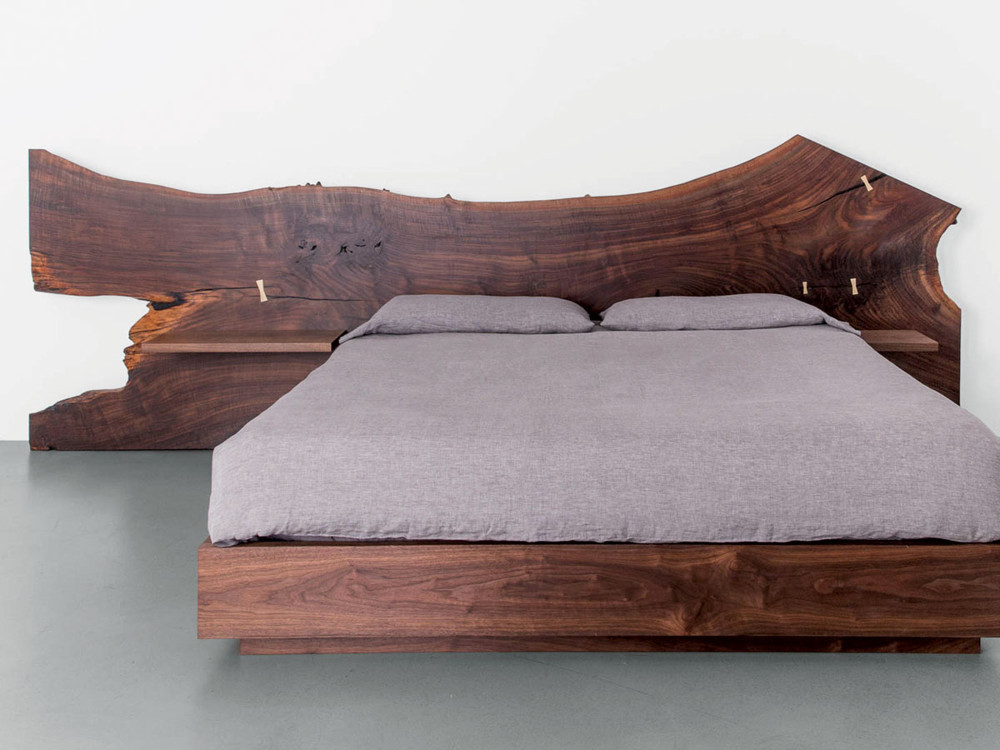 The St. Pierre bed from Uhuru evokes the designs of iconic woodworker George Nakashima, with a modern edge. The individual beauty and pattern is discovered in every slab of wood, celebrating the perfect imperfections of the live edge.
