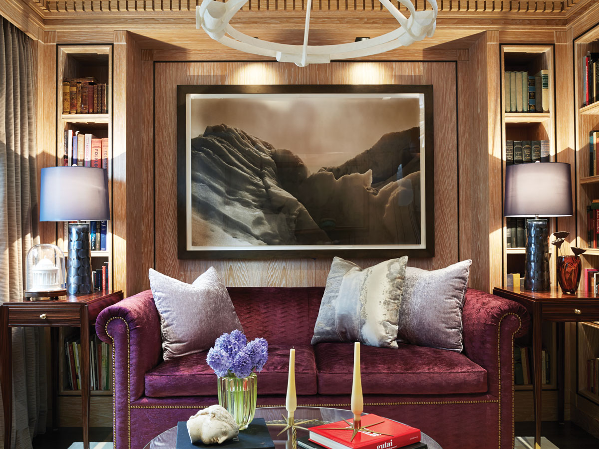 SilverLining Executed The Librarys Millwork And Paneling Which Envelops A Custom Chesterfield Sofa In Zoffany