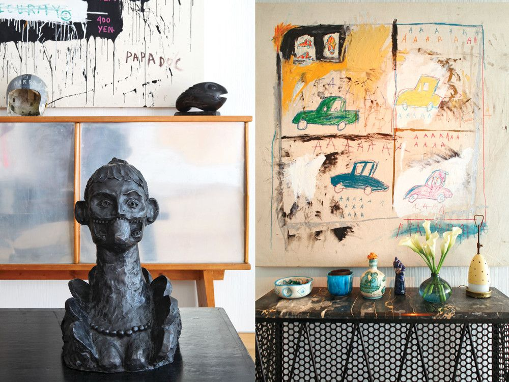"Left: A bronze of a woman with necklace by George Condo. Right: A variety of small sculptures sits atop a ""Tour Eiffel"" console by Jean Royère."