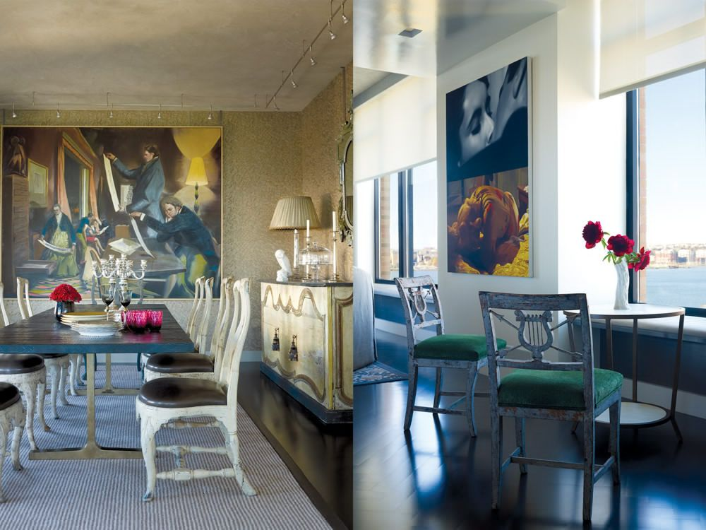 Left: A BDDW dining table, surrounded by 18th-century Swedish chairs, seems an extension of one featured in Neo Rauch's painting (set against the Fortuny wall covering). The Parisian sideboard is made of 19th-century boiserie. Right: Empire chairs from H.M. Luther take in the Hudson River views.
